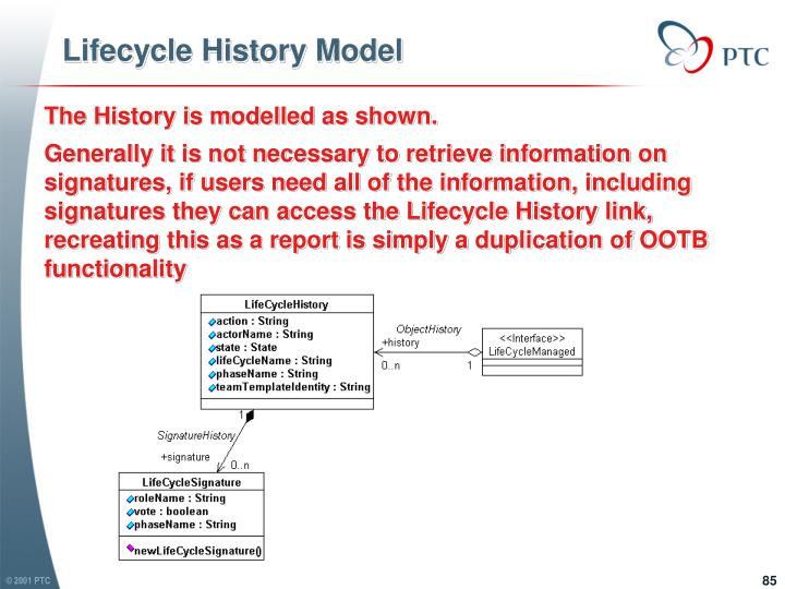 Lifecycle History Model
