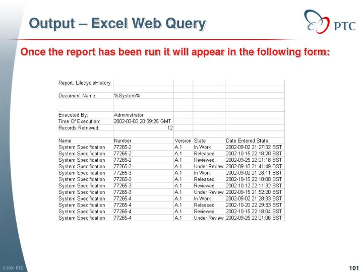 Output – Excel Web Query
