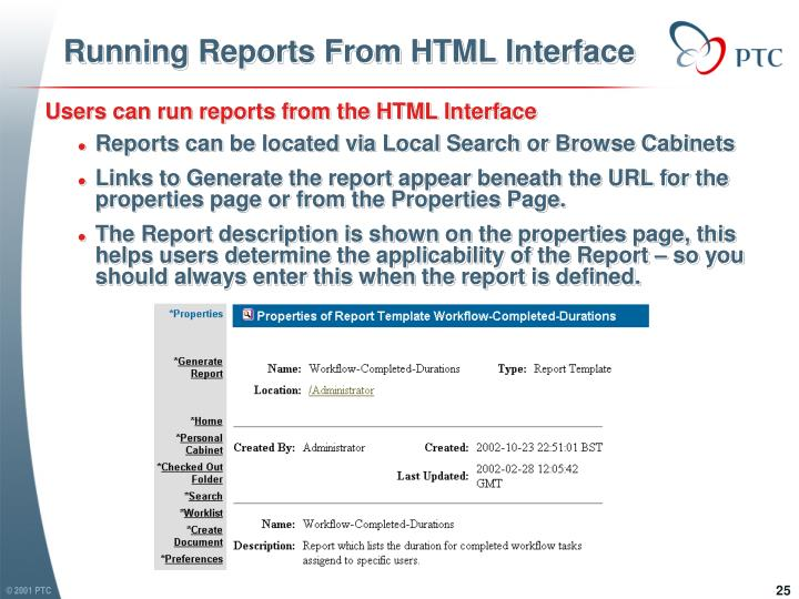 Running Reports From HTML Interface