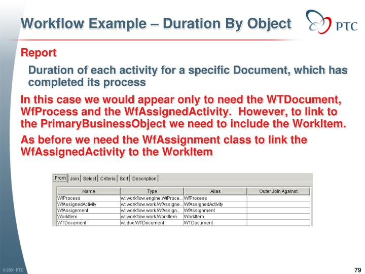 Workflow Example – Duration By Object