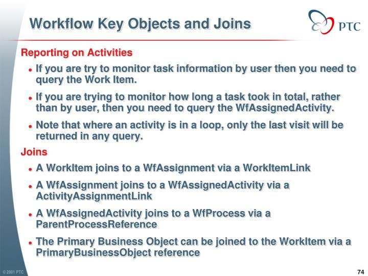 Workflow Key Objects and Joins