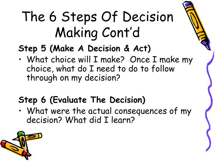 The 6 Steps Of Decision Making Cont'd