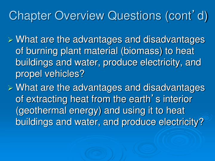 Chapter overview questions cont d