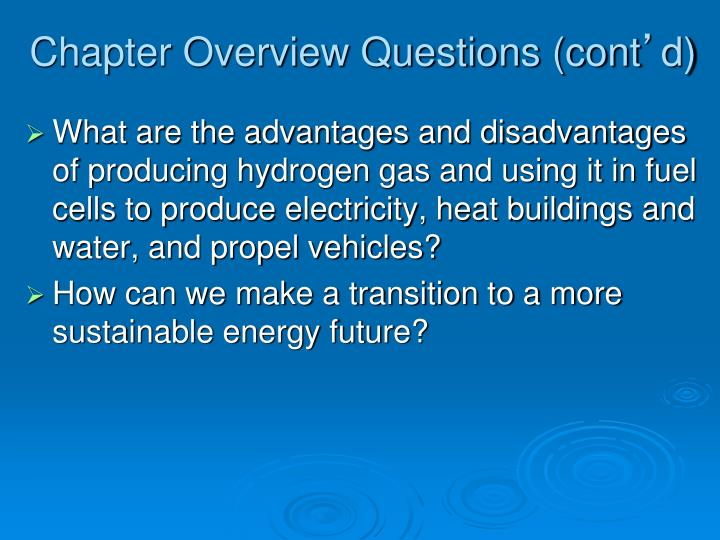 Chapter Overview Questions (cont