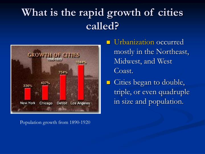What is the rapid growth of cities called?
