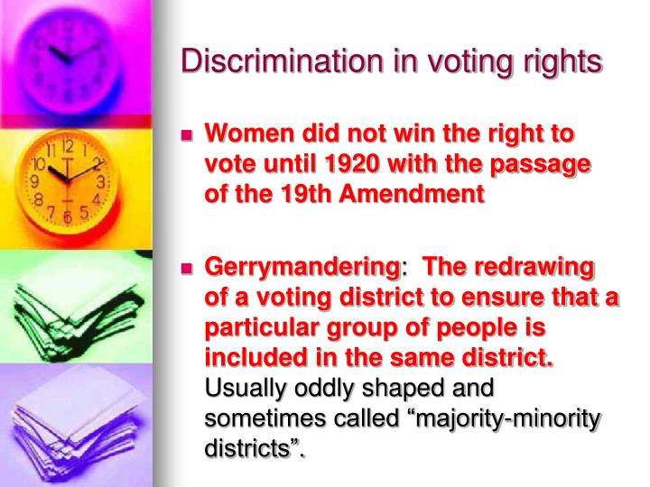 Discrimination in voting rights