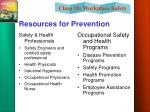 resources for prevention