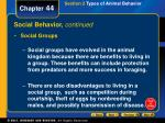 social behavior continued