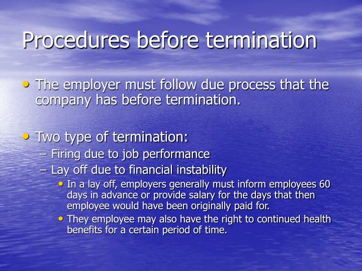 Procedures before termination