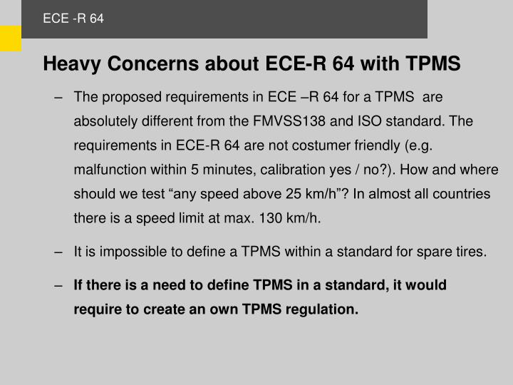 Heavy concerns about ece r 64 with tpms1