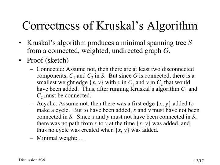 Correctness of Kruskal's Algorithm