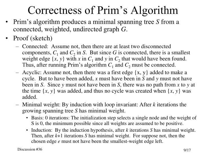 Correctness of Prim's Algorithm