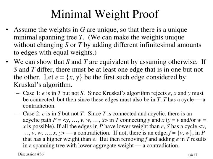 Minimal Weight Proof