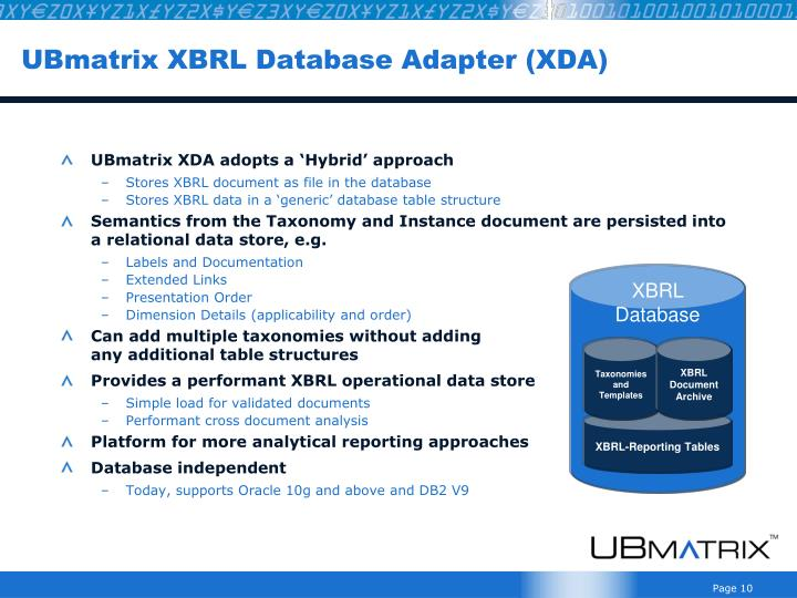 UBmatrix XBRL Database Adapter (XDA)