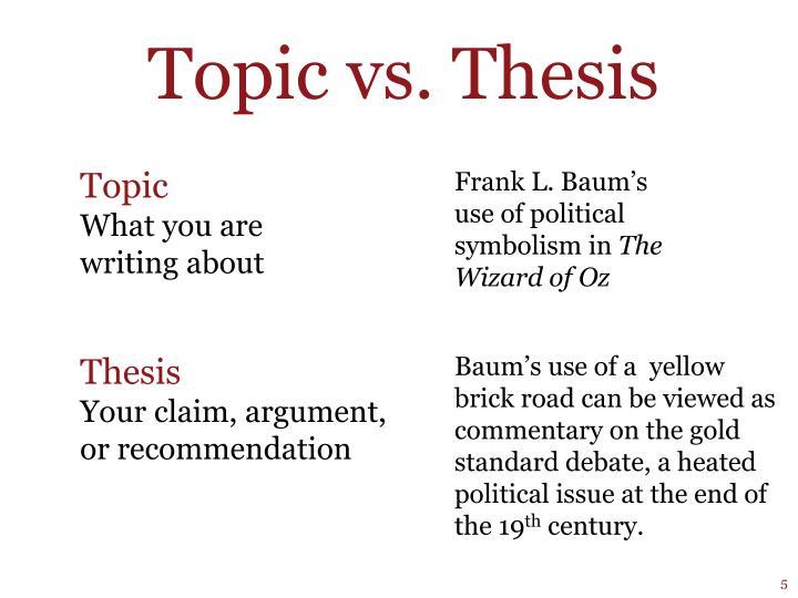 Topic vs. Thesis