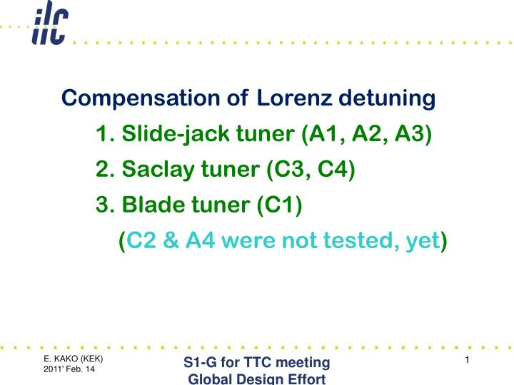 Compensation of Lorenz detuning