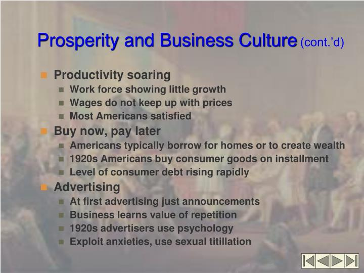 Prosperity and Business Culture