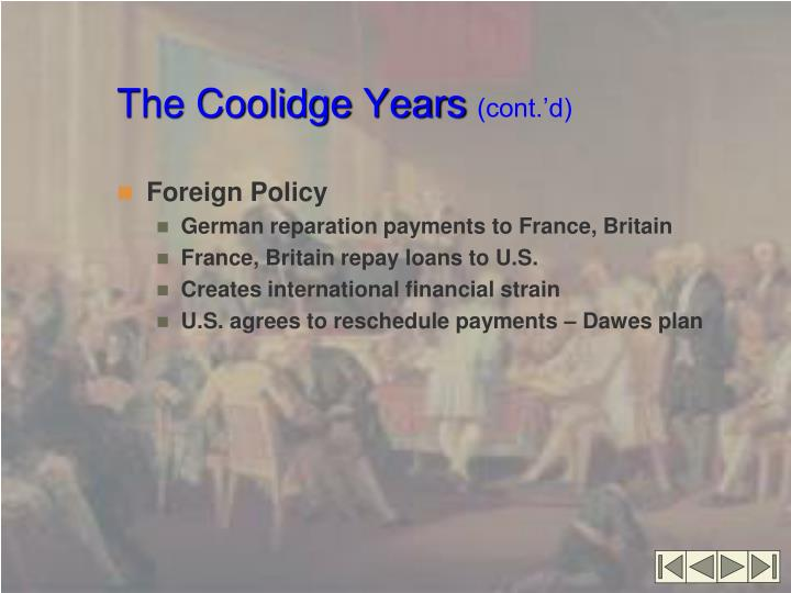 The coolidge years cont d