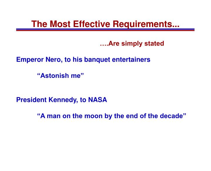 The most effective requirements