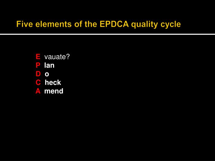Five elements of the EPDCA quality cycle