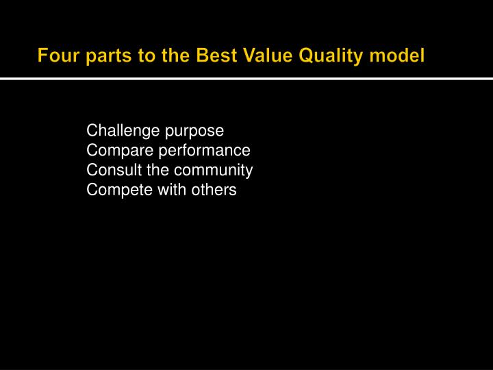 Four parts to the Best Value Quality model