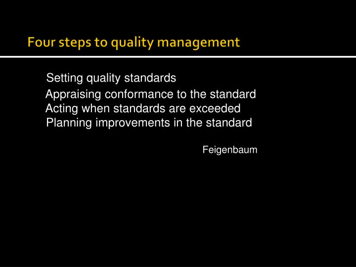 Four steps to quality management