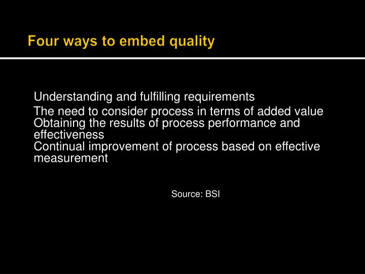 Four ways to embed quality