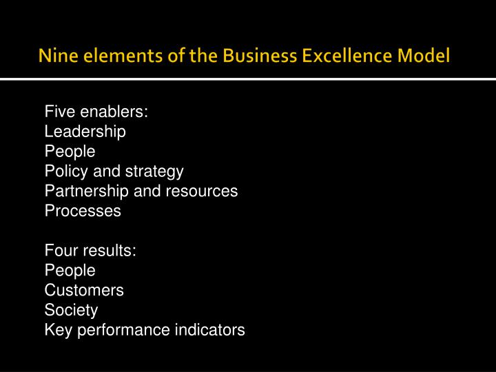Nine elements of the Business Excellence Model