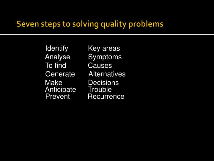 Seven steps to solving quality problems