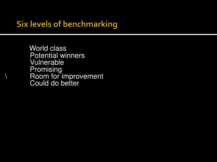 Six levels of benchmarking