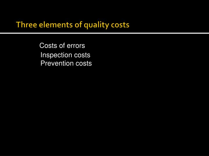 Three elements of quality costs