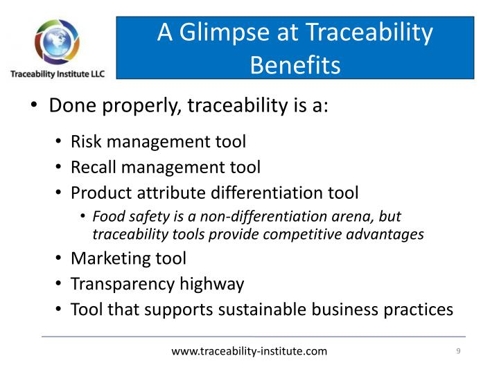 A Glimpse at Traceability Benefits