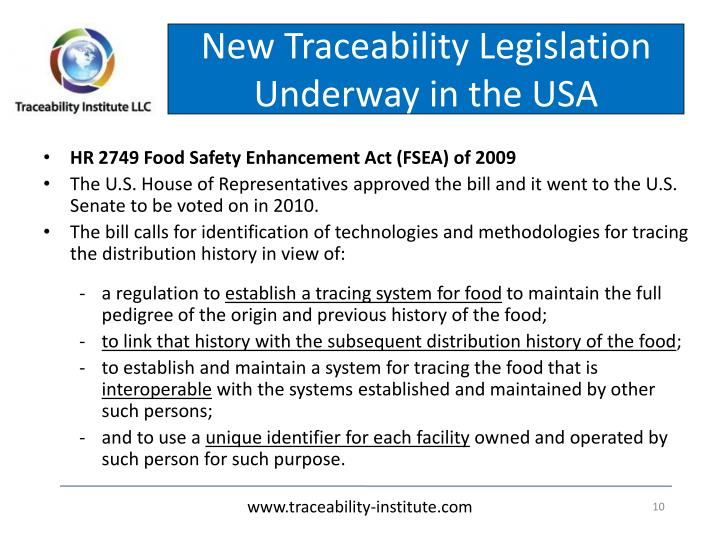 New Traceability Legislation Underway in the USA