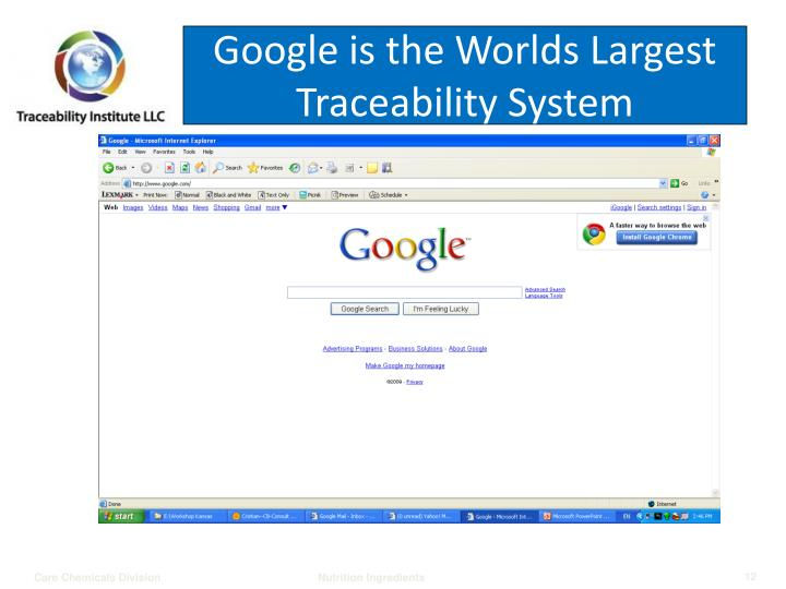 Google is the Worlds Largest Traceability System