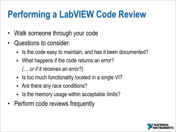 Performing a LabVIEW Code Review