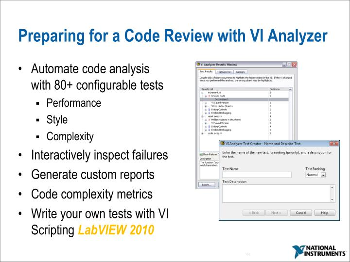 Preparing for a Code Review with VI Analyzer