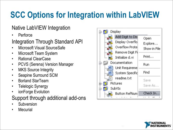 SCC Options for Integration within LabVIEW
