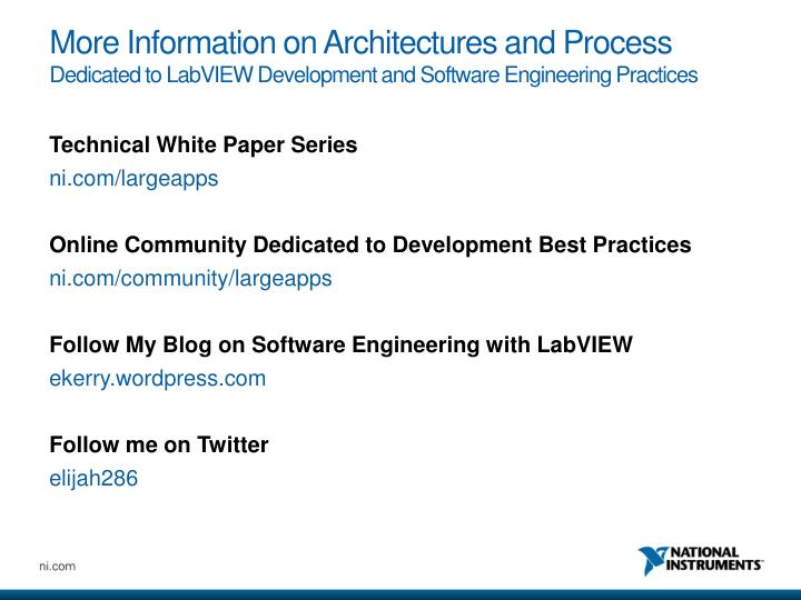 More Information on Architectures and Process