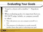 evaluating your goals