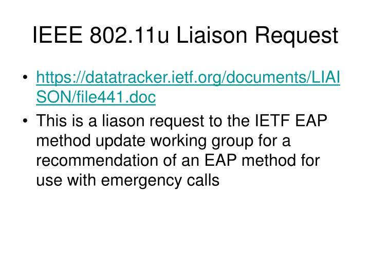 IEEE 802.11u Liaison Request