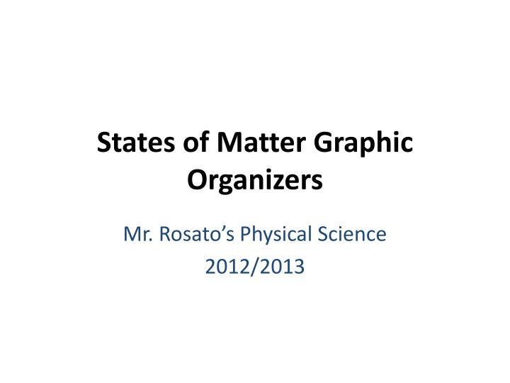 States of matter graphic organizers
