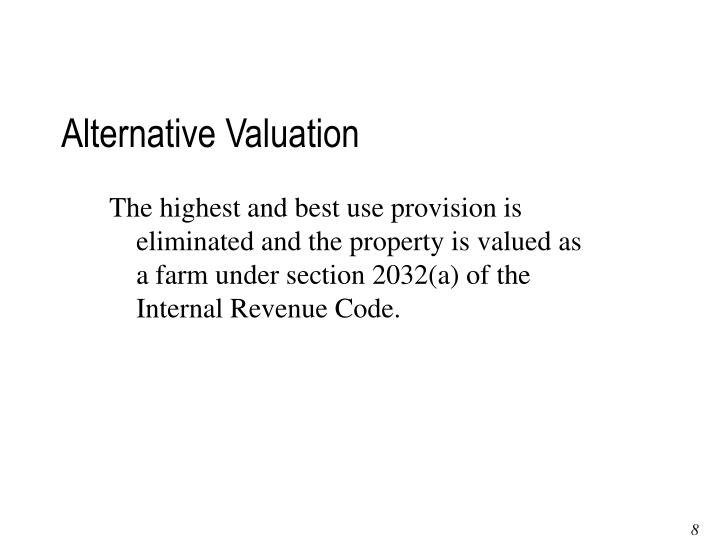 Alternative Valuation