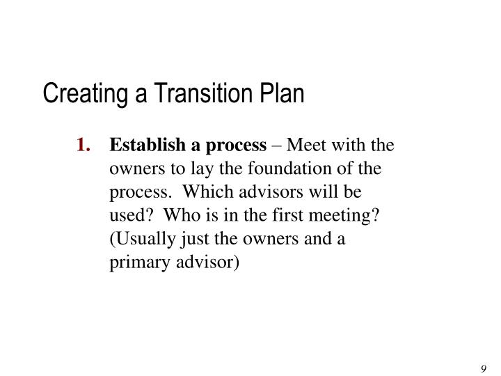 Creating a Transition Plan