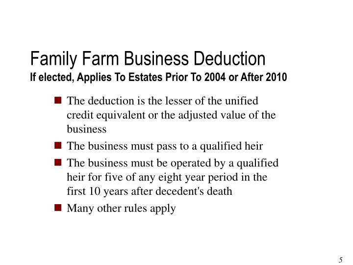 Family Farm Business Deduction
