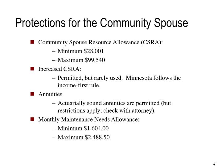 Protections for the Community Spouse