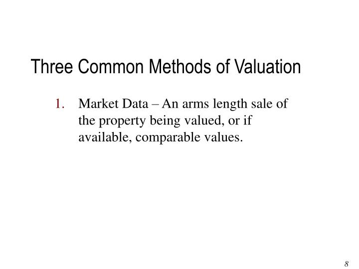 Three Common Methods of Valuation