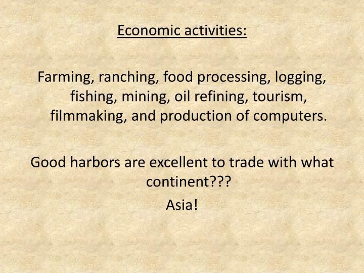 Economic activities: