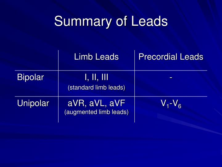 Summary of Leads