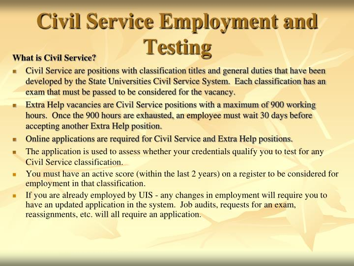 Civil service employment and testing