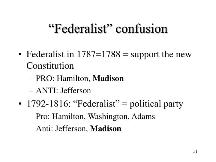 """Federalist"" confusion"